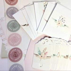 Shipping card sticker set. Mini cards, hang tags and thank you stickers